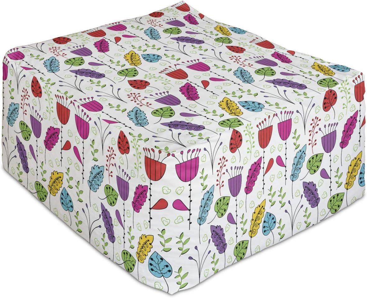 Lunarable Colorful Rectangle [Alternative dealer] Pouf Botanical Pattern with Garden Max 64% OFF