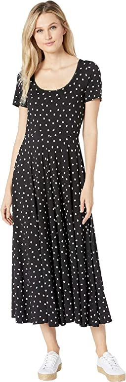 Painted Dot Jersey Scoop Neck Short Sleeve Dress