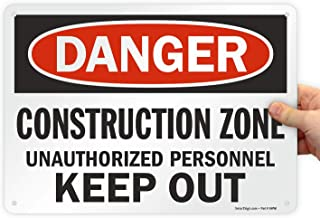 """Lyle Safety Sign, Legend""""Danger: Construction Zone"""", Black/Red on White 10"""" x 14"""" U9-1367-NP_10x14 1"""