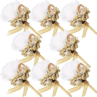 Men Wedding Boutonniere Wedding Flowers Buttonholes Accessories Groom Groomsman Prom Party Suit Decoration (8, White, Gold)