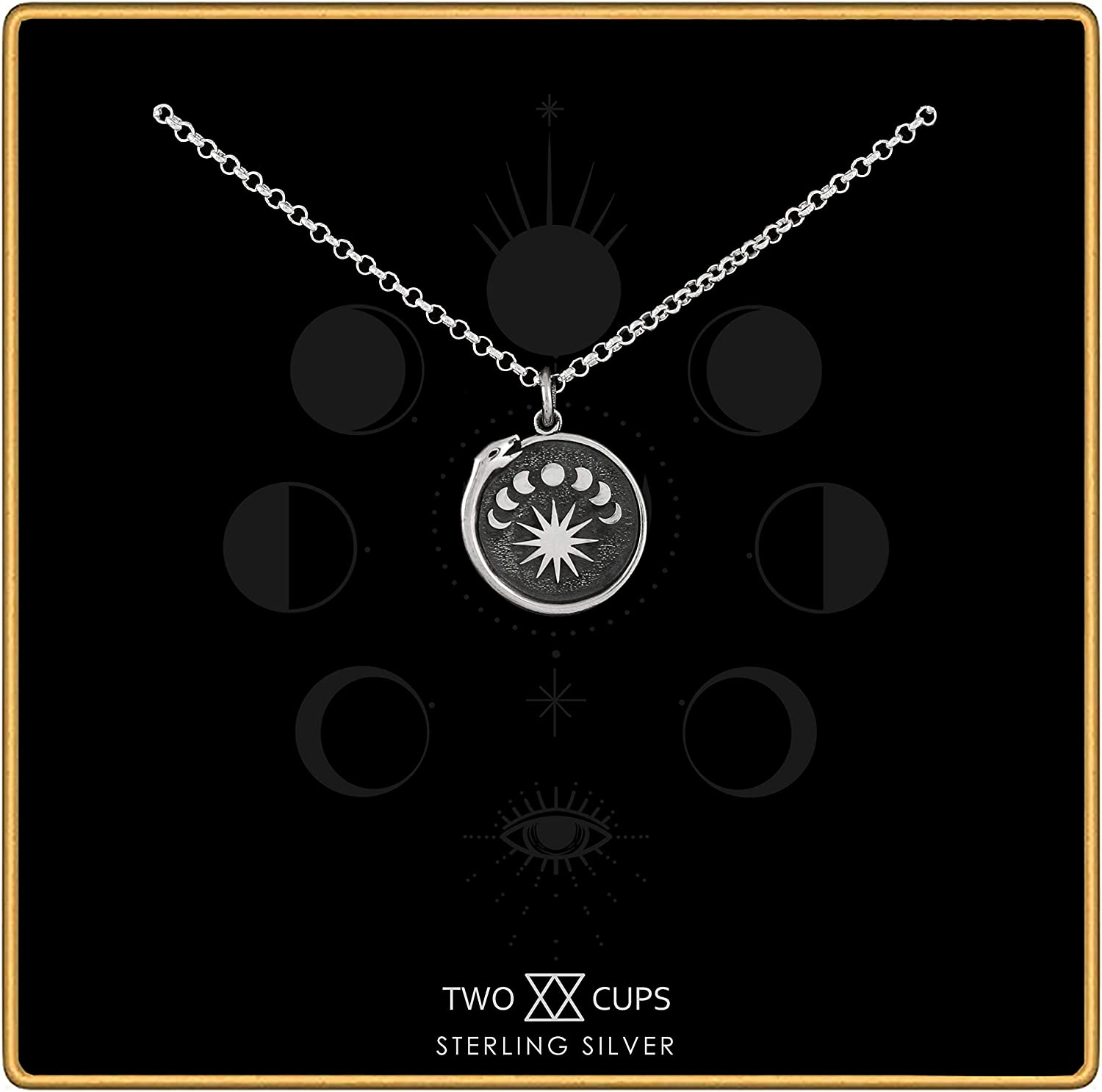 Two Cups Sterling Silver Moon Phase • Tampa Mall Necklace L Austin Mall Ouroboros Charm