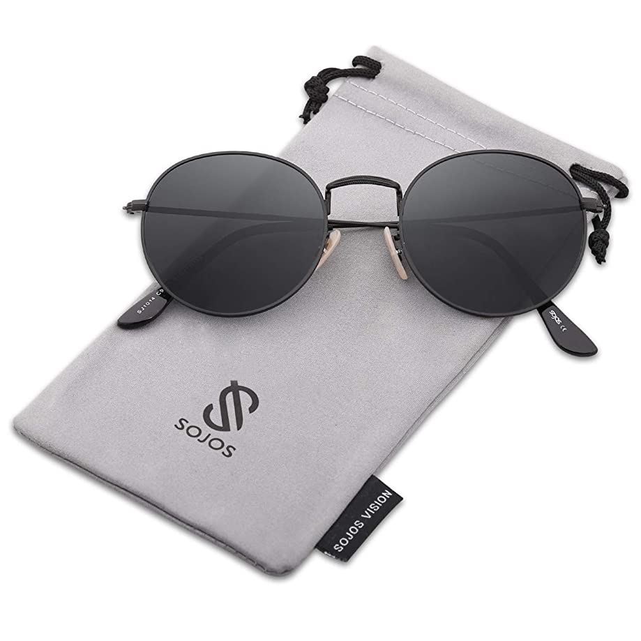 SOJOS Small Round Polarized Sunglasses Mirrored Lens Unisex Glasses SJ1014 3447