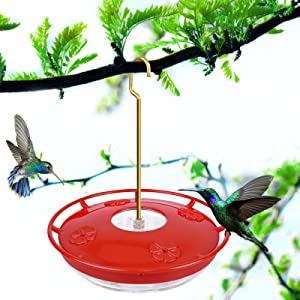 Hummingbird Feeders for Outdoors, 12 oz Hummingbird Feeder with 4 Red Feeding Ports, Hanging Bird Feeders for Outside Garden Yard Decoration, Leak-Proof, Ant Moat & Bee Proof, 1 Pack