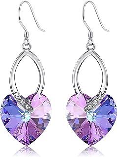 KesaPlan Purple Blue Heart Dangle Earrings for Women Made with Swarovski Crystals Drop Earrings Hypoallergenic Hooks Love ...