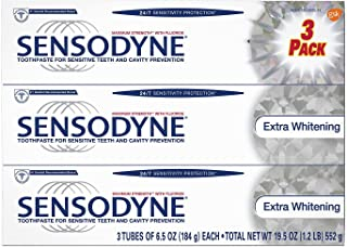 Sensodyne Toothpaste for Sensitive Teeth and Cavity Prevention, Maximum Strength Extra Whitening 6.5 oz (3 pack) - 08421