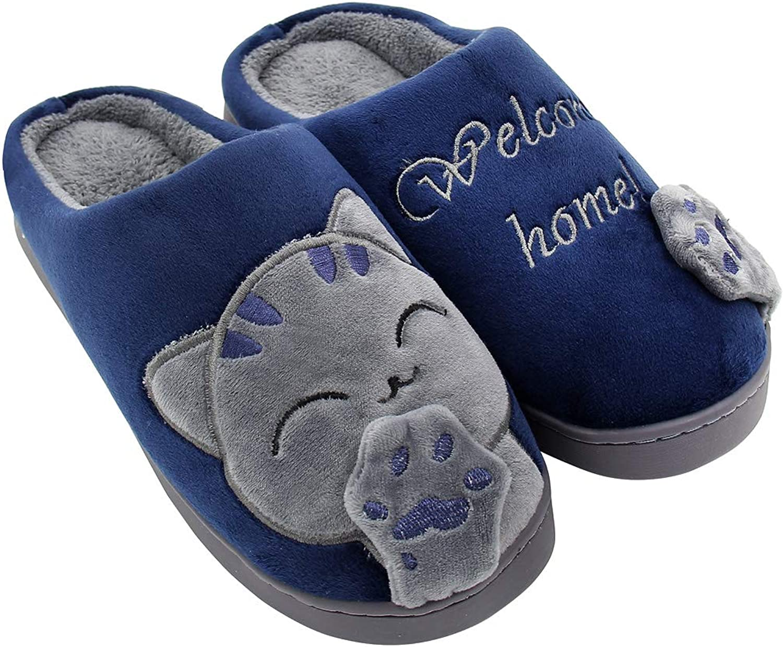 ALOTUS Women's & Men's Memory Foam Slippers with Animal Cute Cartoon Cat Winter Warm Fuzzy Bedroom shoes Non Slip Pink