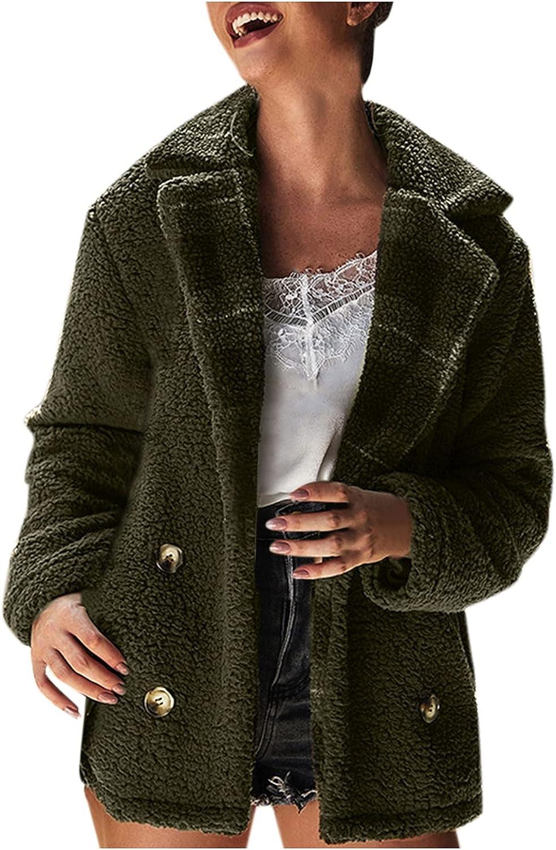 Women's Faux Fur Jacket Coat Winter Warm Fleece Lapel Coat Long Sleeve Plaid Cardigan Outerwear