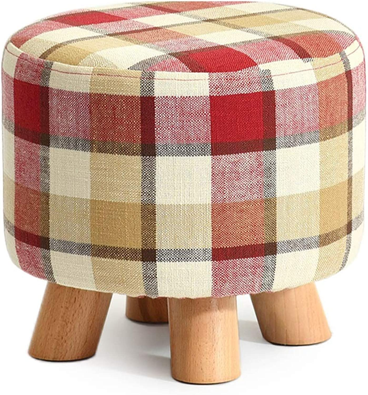 Solid Wood Fabric Footstool, Home Living Room Bedroom Change shoes Stool (color   Red Plaid)