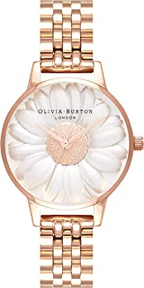 Olivia Burton Women's Quartz 3D Daisy analog Display and Stainless Steel Strap, OB16FS102