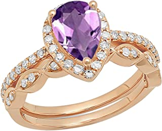 14K 9X6 MM Pear Gemstone & Round Diamond Ladies Engagement Ring With Matching Band Set, Rose Gold