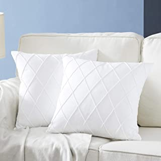 Longhui bedding Pure White Throw Pillow Covers – 2-Pack 20 x 20 Inch Cushion Covers – Sturdy and Discrete Zipper Opening – Premium Quality Polyester - Decorative Pillow Covers for Couch Sofa Bed