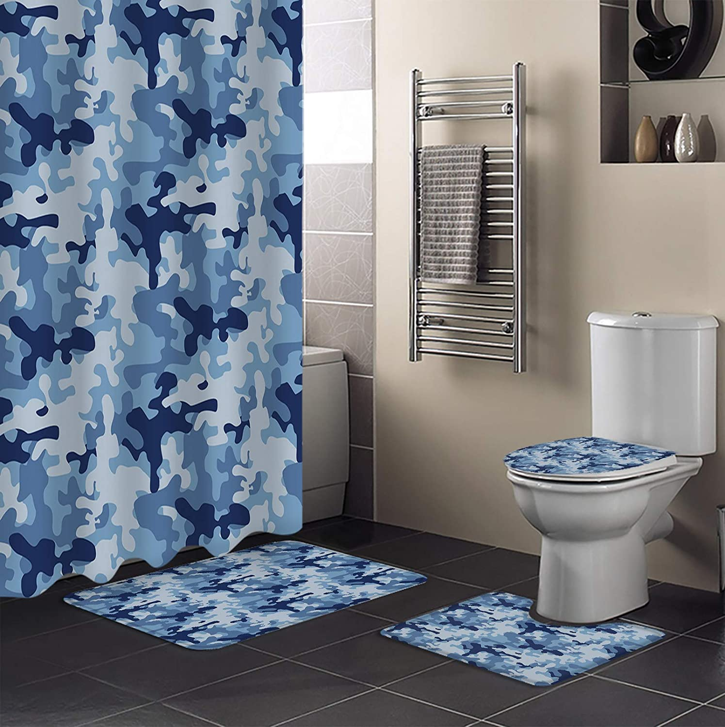 Beauty Decor 4 Piece Shower Curtain Cheap super special price Handsom Raleigh Mall Blue Sets Camouflage
