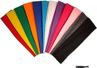 Kenz Laurenz 12-Piece Cotton Elastic Stretch Headbands, Assorted Colors