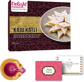 Delight Foods Indian Festive Diwali Sweet Gift Box - Kaju Katli Sweet with Happy Diwali Greeting Card and Diwali Diya for Diwali Decoration