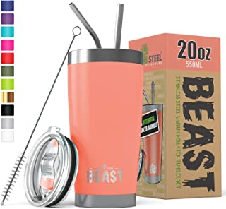 BEAST 20 oz Tumbler Stainless Steel Insulated Coffee Cup with Lid, 2 Straws, Brush &..