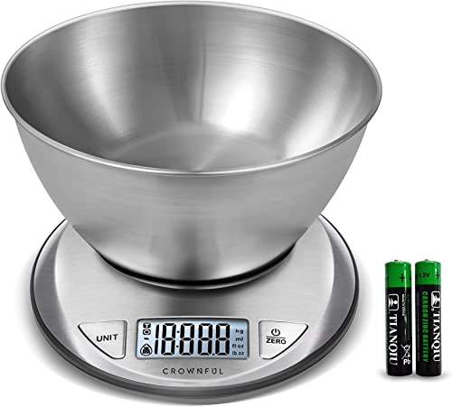 new arrival CROWNFUL Digital Food Scale with Bowl,11lb/5kg Kitchen Scales Digital Weight Grams and sale Ounces for Cooking wholesale and Baking,Kitchen Scale with Bowl (Batteries Included) outlet online sale