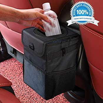 Xian Ju Auto Mülleimer Abfalltasche Auto Mit Deckel Und Seitentaschen Wasserdicht Auslaufsicher Und Zusammenfaltbare Organizer Abfall Tasche Für Auto Geländewagen Lkw Minivan Auto Baby