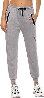 Akalnny Pantalones Chandal Mujer Algodón con Bolsillos Pantalón Deportivo Mujer Largos Patalones de Punto de Rayas