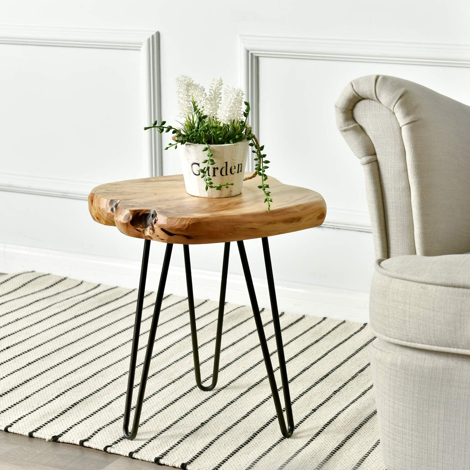 WELLAND Live Edge Side Table with Hairpin Legs, Natural Edge Side Table, Small Nightstand Wood, 15.5  Tall
