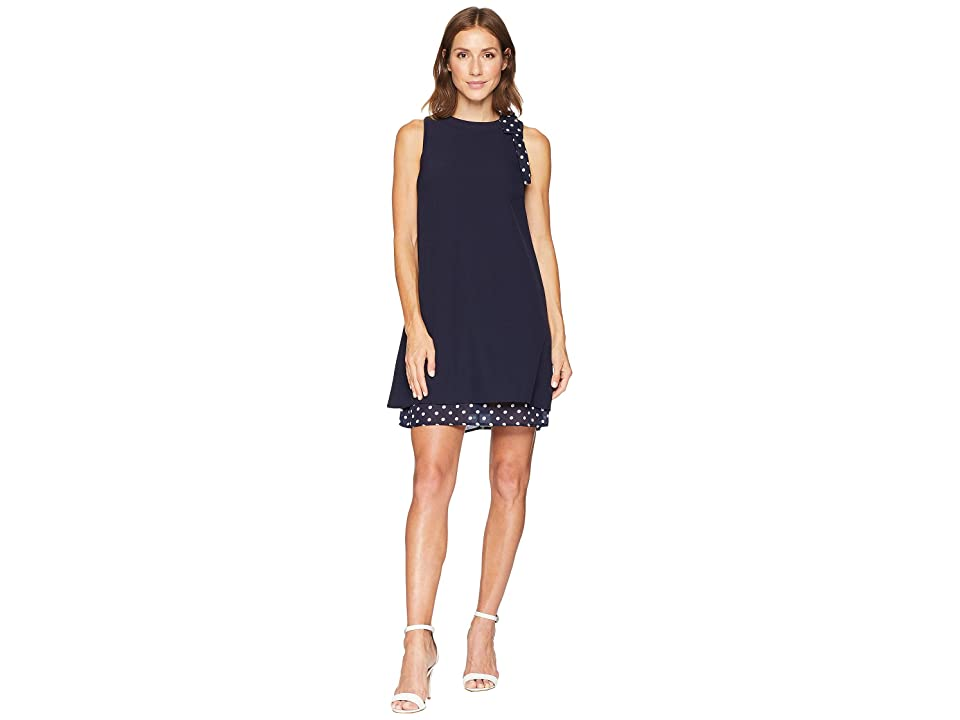 Tahari by ASL Sleeveless Sheath Dress with Tie Detail at Neck (Navy/White) Women