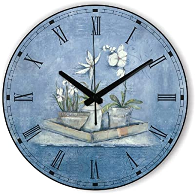 Pastoral Style Decorative Wall Clock with Silent Clock Movement for Bedroom Wall Decor Vintage Home Decor