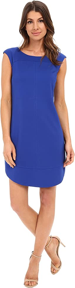 Cap Sleeve Sheath Dress with Seaming