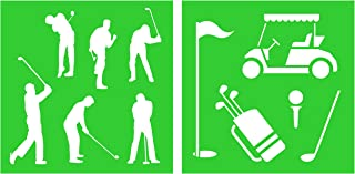 Auto Vynamics - STENCIL-GOLF-10 - Golf Silhouettes Stencil Set - Featuring Multiple Golfers, Flag, Cart, Club, & More! - 10-by-10-inch Sheet - (2) Piece Kit - Pair of Sheets