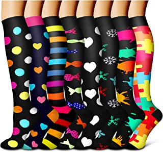 Compression Socks For Women and Men Circulation(8 Pairs)-Best support for Running,Sports,Pregnancy