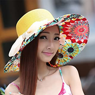 QYJpB-Hats Ladies Bucket Hat Sun Hat Summer Foldable Big Bowknot Hat, Floppy Beach Cap Wide Brim Hat Packable for Women (Color : Yellow)