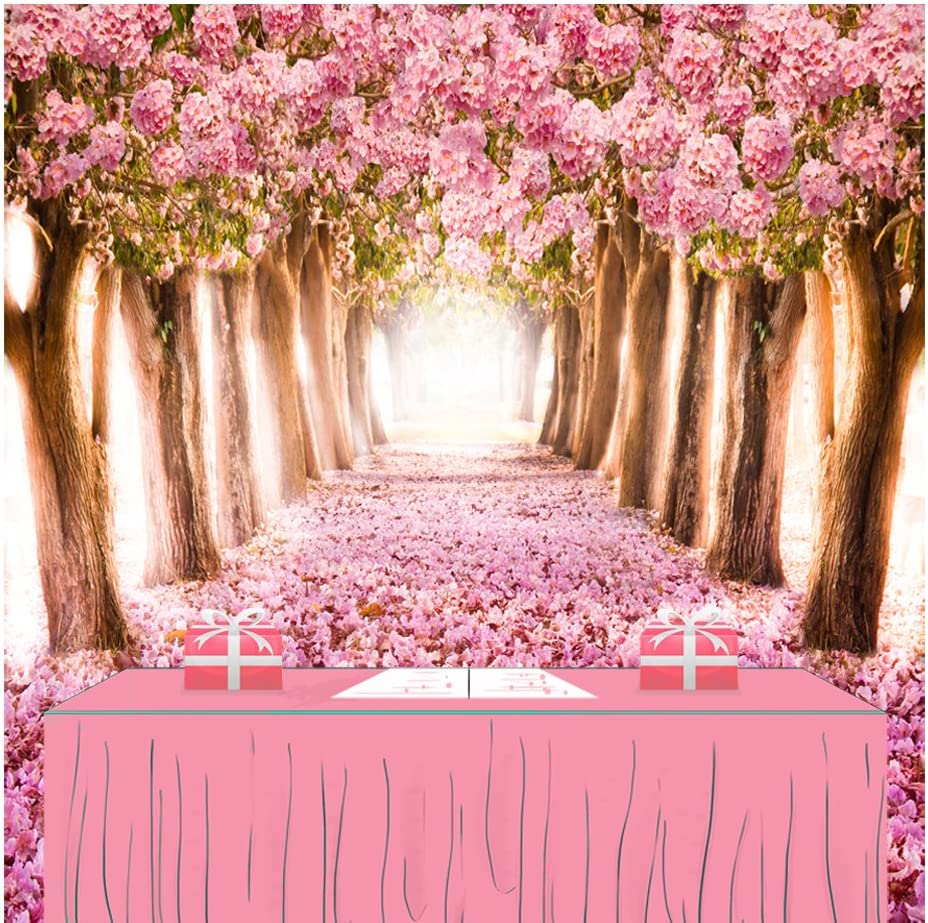 Pink Cherry Tree Photography Backdrop Spring Scenery Background for Wedding Photo Studio Backdrops Baby Shower Photo Booth Newborn Props D-1647