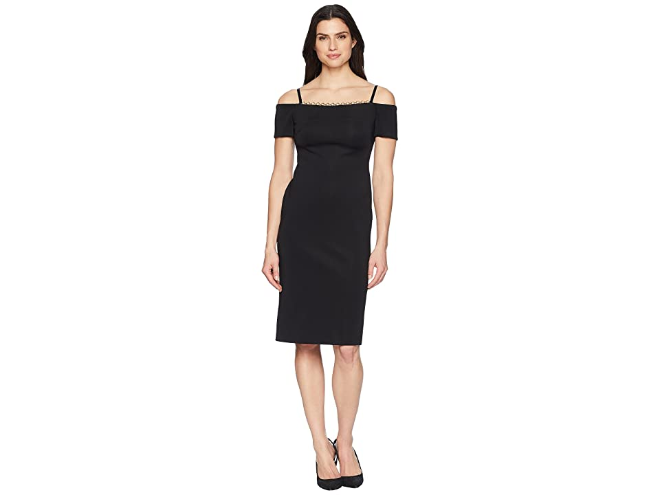 Calvin Klein Chain Detail Neck Cold Shoulder Sheath Dress CD8M18MF (Black) Women