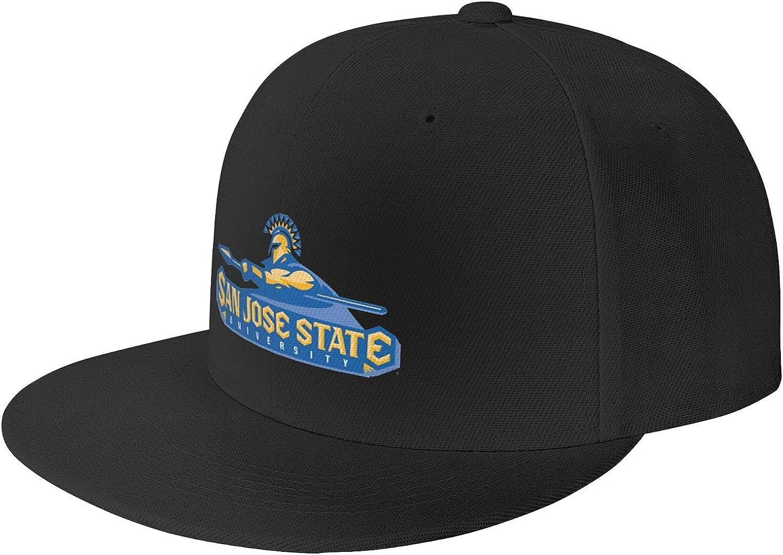 San Jose State University Logo Unisex Adjustable Baseball Cap, Flat-Brimmed Sun Hat, Casual and Breathable Black
