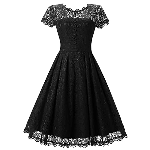 58941c53 OLIPHEE Women's Vintage 1950s Lace Overlay Double Layer Knee Length Skater  Swing Dresses