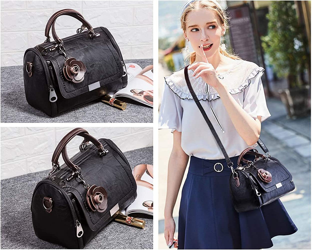 Mn&Sue Barrel Style Handbags for Women Small Top Handle Satchel Crossbody Ladies Leather Purse