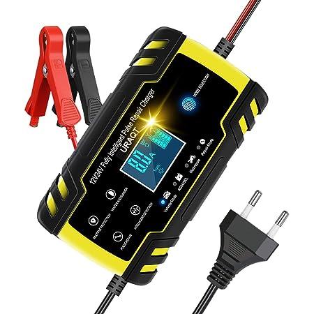 URAQT Chargeur de Batterie de Voiture, 12V / 24V 8A Chargeur et Mainteneur de Batterie Multi-Protections, Chargeur de Batterie Intelligent Automatique avec Ecran LED pour Camion de Moto de Voiture