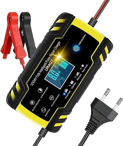 URAQT Chargeur de Batterie de Voiture, 12V / 24V 8A Chargeur et Mainteneur de Batterie Multi-Protections, Chargeur de...