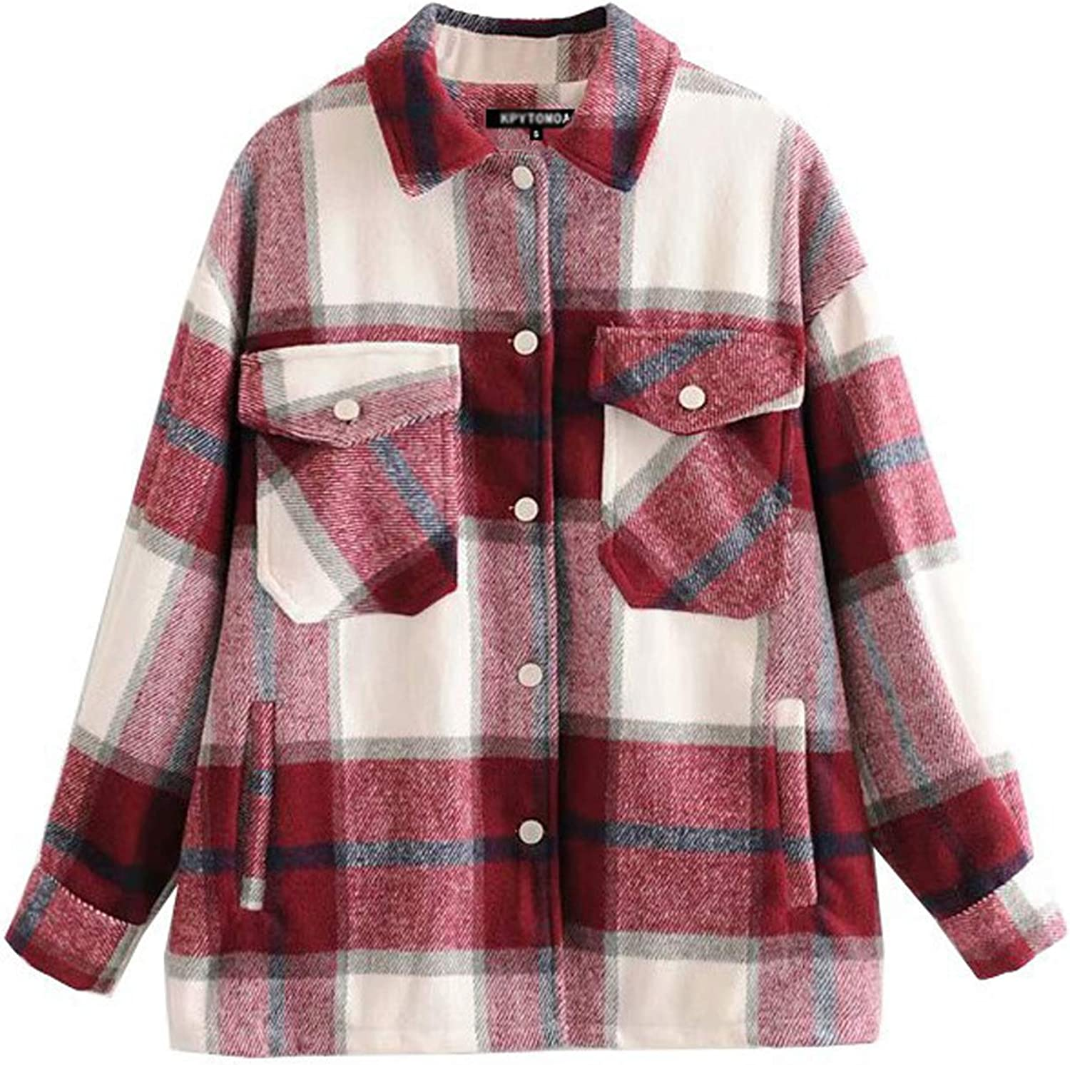 Firehood Limited price Women's Retro Oversized Plaid Loose Limited price Jacket Shacket Butt