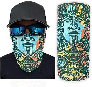 Ancient Aztec Sun Totem Mayan Folklore Print Bandana Face Mask Sun Protection Rave Face Mask