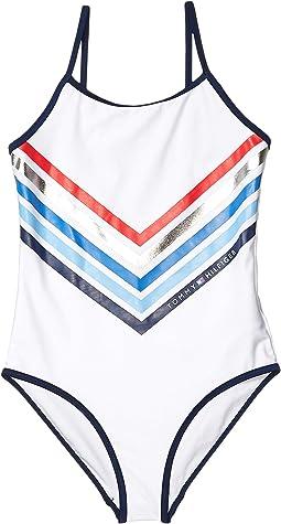 Chevron Stripe One-Piece Swimsuit (Big Kids)
