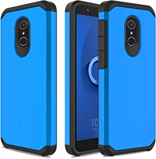 USHAWN Compatible Alcatel TCL LX (A502DL) Case, Alcatel IdealXtra Case, Alcatel 1X Evolve Case, Hybrid Dual Layer Slim Rugged Shockproof Protection Phone Case Cover with Armor Defender (Blue)