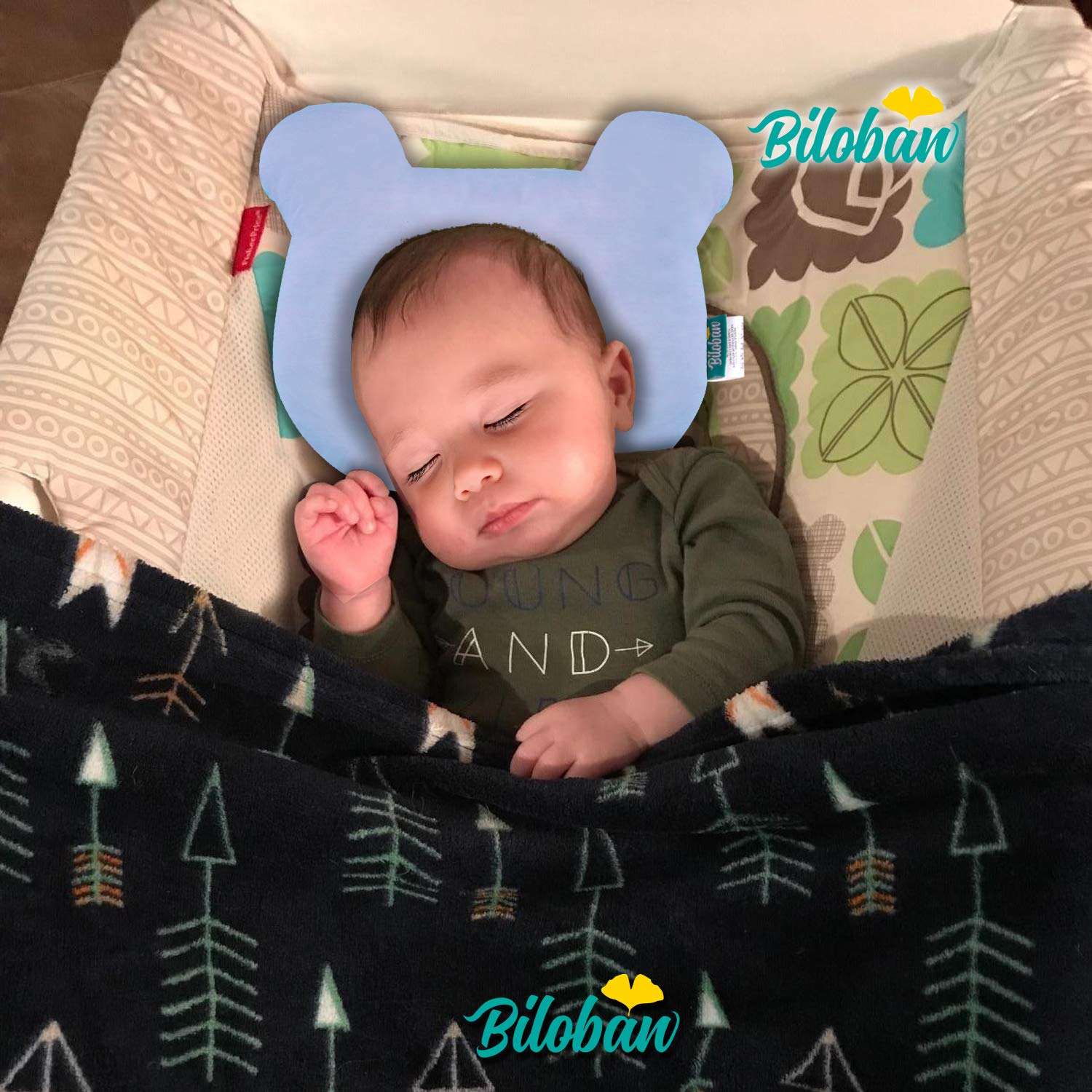 Blue Breathable Infant Pillows for Flat Head with Soft Jersey /& Muslin Fabric,Bear Design Head Shaping Pillow for Infant Newborn Pillow for Sleeping