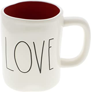 Rae Dunn by Magenta LOVE Ceramic LL Coffee Mug Red Interior