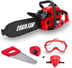 Kids Size Power Construction Yard Toy Pack Tool Big Play Realistic Chainsaw with Sound, Toddlers Pretend Play Yardwork Lawn Equipment Giant Plastic Chains Saw for Boys Garden Tool
