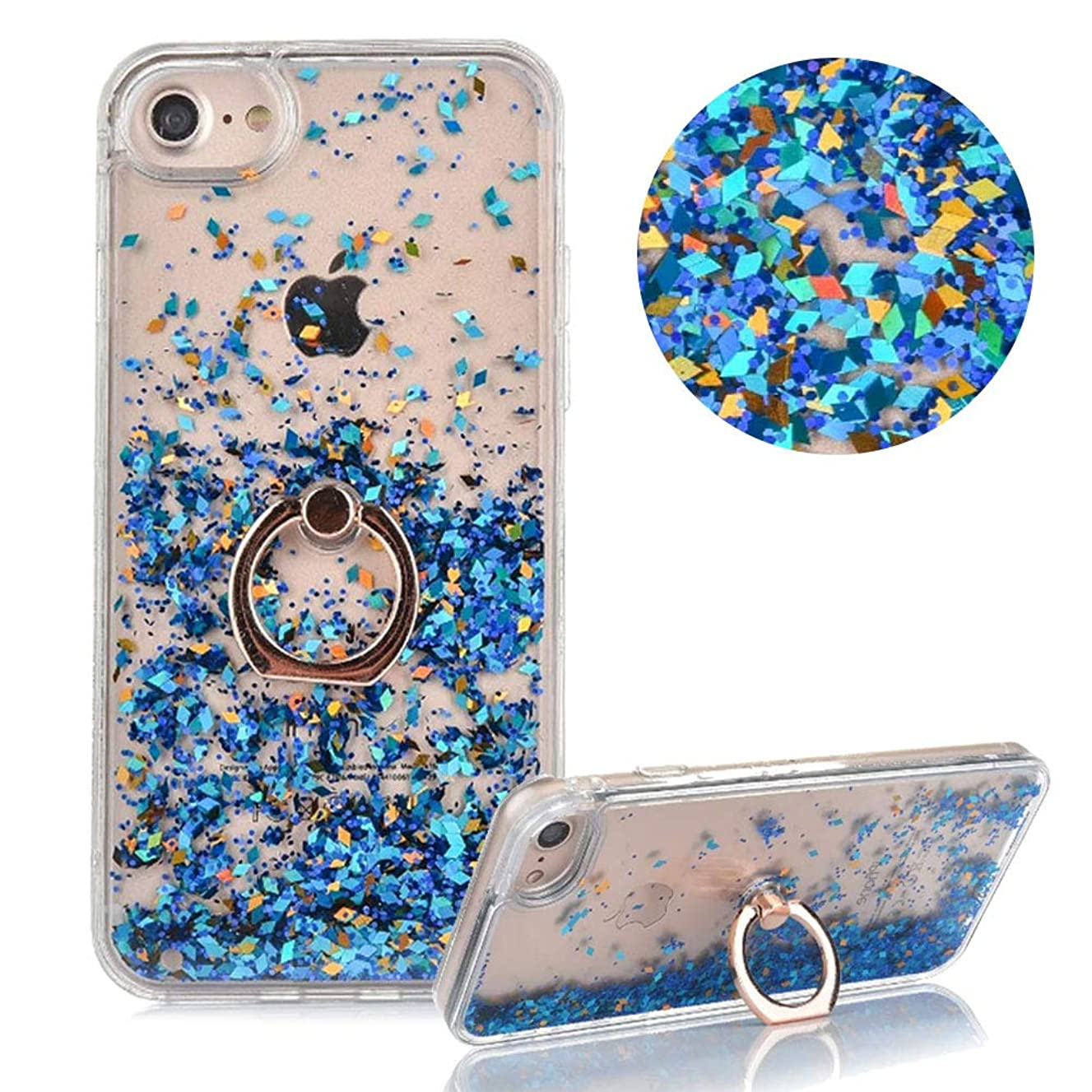 Hard Plastic Case for iPhone 6 Plus,Glitter Liquid Case for iPhone 6S Plus,Moiky Luxury Blue Diamond Quicksand Glitter Sequins with 360 Degrees Stand Ring Holder Slim Plastic Case