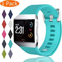 KingAcc Compatible Replacement Bands for Fitbit Ionic, Soft Silicone Fitbit Ionic Band with Metal Buckle Fitness Wristband Strap Women Men Large Small Black, White, Rose, Gray, Blue, Red, Green
