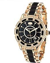Real Diamond Stainless Steel and Black Ceramic Watch Rose Gold Plated LUXURMAN Galaxy Swiss Quartz Watch
