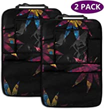 2 Pack Car Back Seat Organizer, Abstract Colorful Maple Leaves Travel Accessories Organizer Back Seat Protector with Touch Screen Tablet Holder, Kick Mat with 4 Storage Pockets