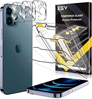 6 Pack EGV 3 PCS Screen Protector + 3 PCS Camera Lens Protector Compatible with iPhone 12 Pro Max 6.7-inch Tempered Glass,...