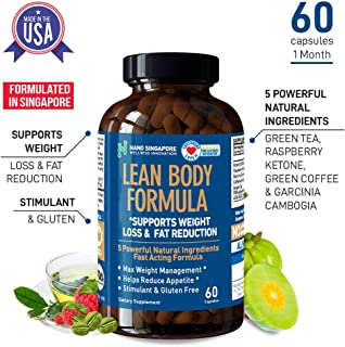 Lean Body Formula with 5 Powerful Natural Ingredients - Fat Burner, Appetite Suppressant - 60 Capsules