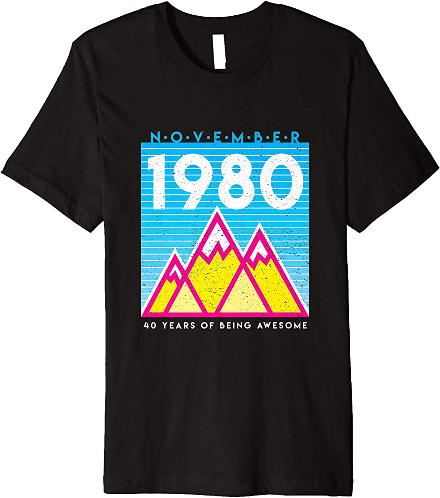 Born In November 1980 Awesome 40th Birthday Graphic Premium T-shirt